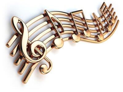 Obraz Złote nuty i klucz wiolinowy na struny muzyczne samodzielnie O