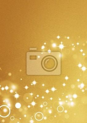 Złote tło z efektami świetlnymi koła i gwiazd błyszczących