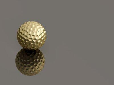 Obraz Złoty Golf piłkę na szarym tle refleksyjnej