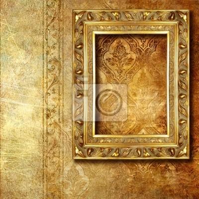 Złoty ramki na stare tapety