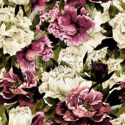 Obraz Złożony kwiecisty wzór z różami na szerokim tle, akwarela.
