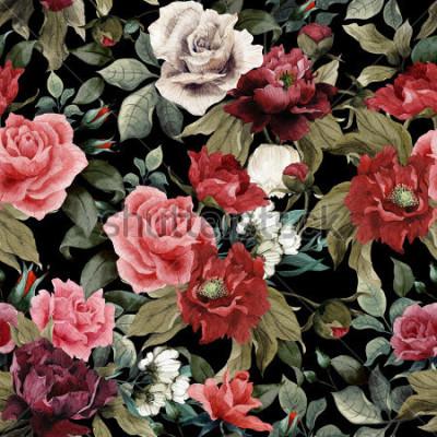 Obraz Złożony kwiecisty wzór z różowymi różami i peoniami na szerokim tle, akwarela