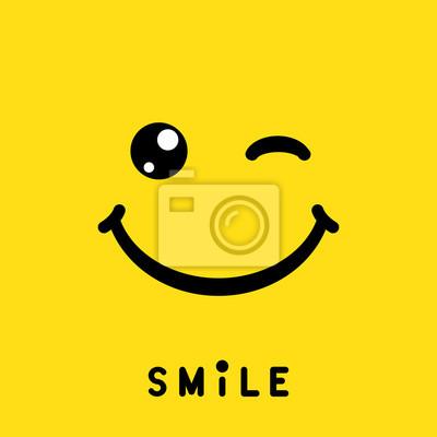 Obraz Znak uśmiech, ikona, etykieta, logo, symbol na żółtym tle. Ilustracji wektorowych