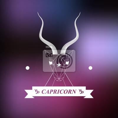 Znak Zodiaku Koziorożec Horoskop Tatuaż Vintage Znaczek Obrazy Redro