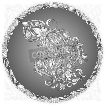 Obraz Znak zodiaku Wodnik. Ta ilustracja może być stosowany jako kartkę z życzeniami lub jako nadruk na koszulkach i torbach, sztuki tatuażu, kolorowanki. Dekoracyjne Henna Mehndi Tattoo etniczny styl Zenta