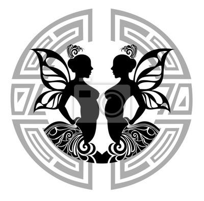 Obraz Znak Zodiaku Bliźnięta Projekt Tatuażu Na Wymiar