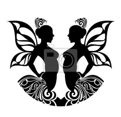 Obraz Znaki Zodiaku Gemini Projekt Tatuażu Na Wymiar Czarny