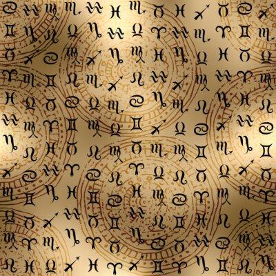 Obraz Znaki zodiaku na tle etnicznym