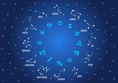 Obraz znaki zodiaku w błękitne niebo, zestaw ikon wektorowych
