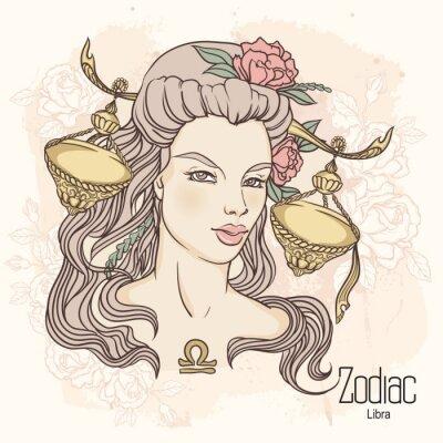Obraz Zodiak. Ilustracja wektora Libra jako dziewczynka z kwiatami.