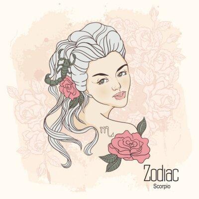 Obraz Zodiak. Ilustracja wektorowa Scorpio jako dziewczynka z kwiatami.