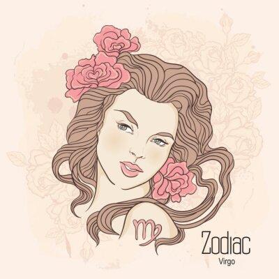 Obraz Zodiak. Ilustracja wektorowa Virgo jako dziewczynka z kwiatami.