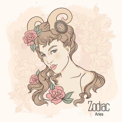Obraz Zodiak. ilustracji wektorowych Barana jako dziewczynka z kwiatami.