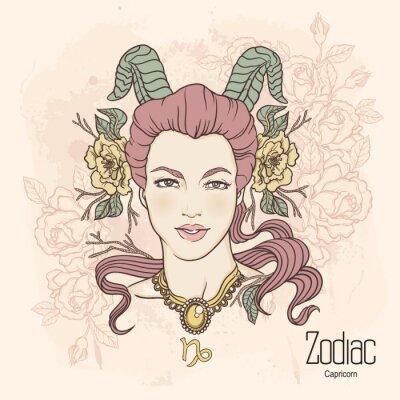 Obraz Zodiak. ilustracji wektorowych Koziorożca jako dziewczynka z kwiatami.