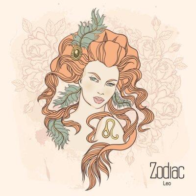 Obraz Zodiak. Ilustracji wektorowych Leo jako dziewczynka z kwiatami.