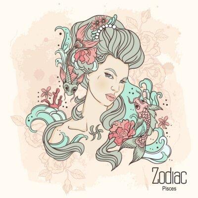 Obraz Zodiak. ilustracji wektorowych Ryb jako dziewczynka z kwiatami.