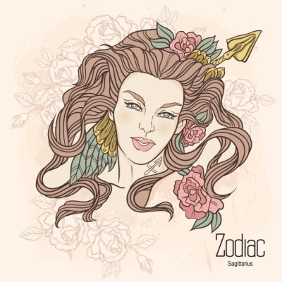 Obraz Zodiak. ilustracji wektorowych Strzelca jako dziewczynka z kwiatami.