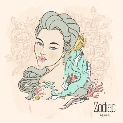 Obraz Zodiak. ilustracji wektorowych Wodnika jako dziewczynka z kwiatami.
