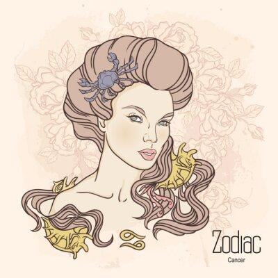 Obraz Zodiak. ilustracji wektorowych z Rakiem jako dziewczynka z kwiatami.