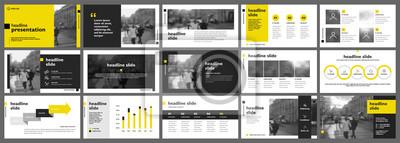 Obraz Żółta prezentacja szablonów elementów na białym tle. Infografiki wektor. Użyj w prezentacji, ulotce i ulotce, raporcie korporacyjnym, marketingu, reklamie, raporcie rocznym, baneru.
