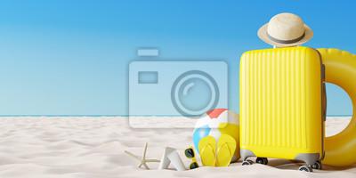 Obraz Żółta walizka z akcesoriami plażowymi na piasku. Koncepcja lato wakacje podróży. Renderowania 3d
