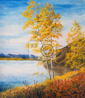 Obraz Żółte brzozy nad jeziorem. Krajobraz z górami, jeziorem i lasem