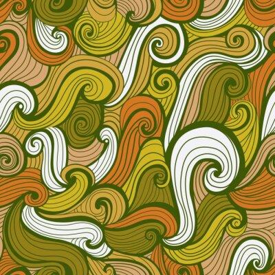 Obraz Żółte Doodle Fale bez szwu deseniu