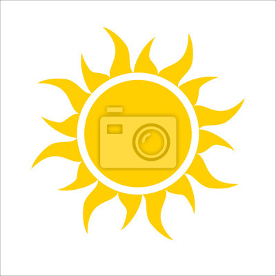 Obraz Żółte ikony słońce na białym tle. Proste płaskie światło słoneczne, podpisać. Trendy wektor latem symbol projektu strony internetowej, przycisk internetowej, aplikacji mobilnej. Logo ilustracji