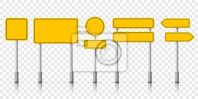 Obraz Żółte uliczne znak drogowy deski. Powiadomienie ostrzegawcze o znakach drogowych