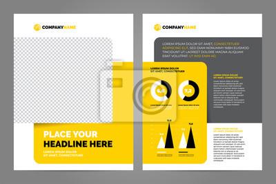 Żółty biznes broszura koncepcja ulotki projekt szablonu a4