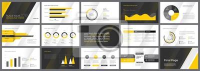 Żółty i czarny Szablon projektu. Wykresy danych biznesowych. Wektorowe wykresy finansowe i marketingowe.
