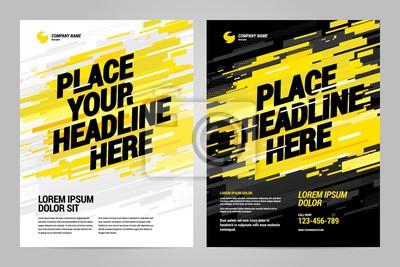 Obraz Żółty szablon zaproszenia sport projekt ulotki. Można dostosować do broszury, raportu rocznego, magazynu, plakatu.