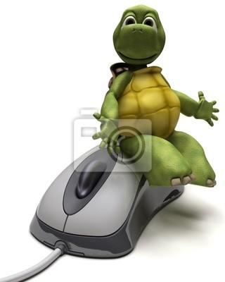 Obraz Żółw z mysz komputerową