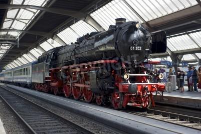 Obraz Zurych, Szwajcaria - 4 czerwca 2011: pociąg z lokomotywą odnowiony Pacific 01 202 parowej jest gotowy do odejścia od głównego dworca kolejowego w Zurychu (Hauptbahnhof).
