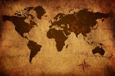 Obraz Zużyte grungy stary mapa świata
