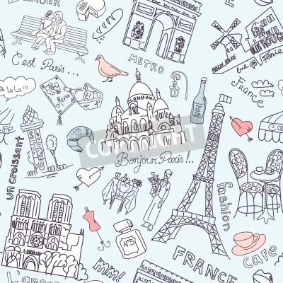 Obraz Zwiedzanie w doodles bez szwu tle Paryż
