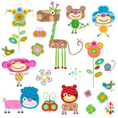 Obraz zwierzęta i kwiaty