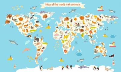 Obraz Zwierzęta mapa świata. Wektor kolorowych ilustracji animowany dla dzieci i dzieci. Przedszkole, edukacja, dzieci, kontynenty, oceany, ciągnione, Ziemia
