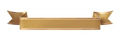 Obraz Zwinięty złoty banner wstążką ze złotym obramowaniem - prostych i falistych końce