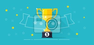 Obraz Zwycięzca nagrody banner ilustracji wektorowych, płaskie kreskówki trofeum złote puchar z pierwszego miejsca nagroda i linia zarys taśmy z gwiazdami, nagrody konkursowe, pomysł zwycięstwa, mistrzostwa