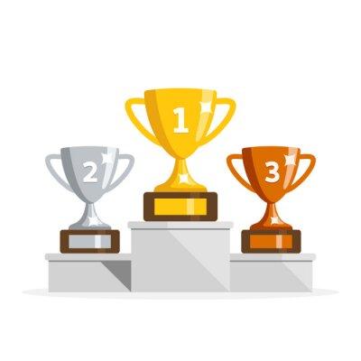 Obraz Zwycięzca podium z pucharami. Nagrody dla mistrzów. Złote, srebrne i brązowe miseczki. Ilustracja wektorowa w stylu płaski.