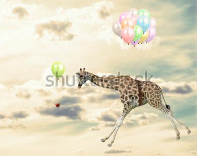 Obraz Żyrafa działa za szansą w niebie