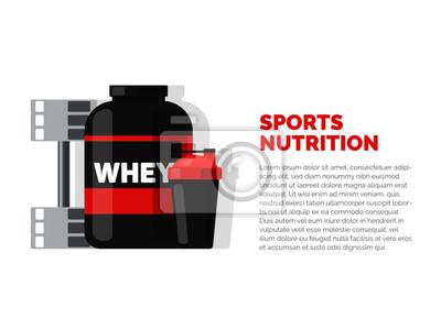 Obraz Żywienie sportowe i fitness. Białko.