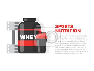 Żywienie sportowe. Zdatność. Ilustracja wektorowa na białym tle.