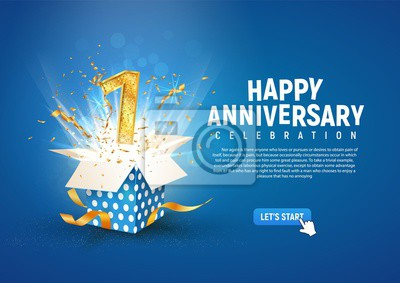 Plakat 1 st year anniversary banner with open burst gift box. Template first birthday celebration and abstract text on blue background vector illustration