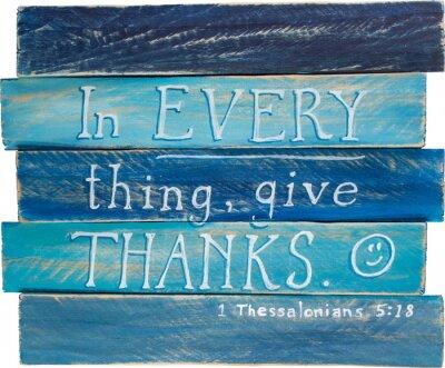 Plakat 1 Thesslonians 05:18 ręcznie malowane na płótnie drewniane podkładki