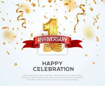 Plakat 1 year anniversary vector banner template. First jubilee with red ribbon and confetti on white background