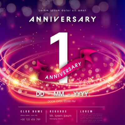 Plakat 1 years anniversary logo template on purple Abstract futuristic space background. 1st modern technology design celebrating numbers with Hi-tech network digital technology concept design elements.