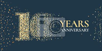 Plakat 10 lat rocznica wektor ikona, logo