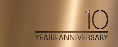 Plakat 10 years anniversary vector logo, icon. Graphic symbol with metallic number for 10th anniversary